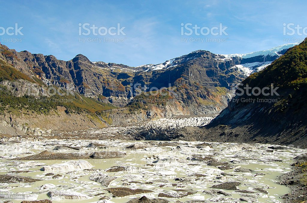 Black Glacier of Mount Tronador - Bariloche - Argentina stock photo