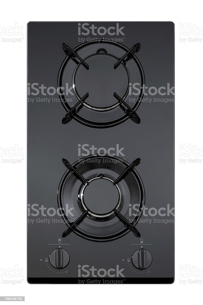 Black glass gas hob stock photo