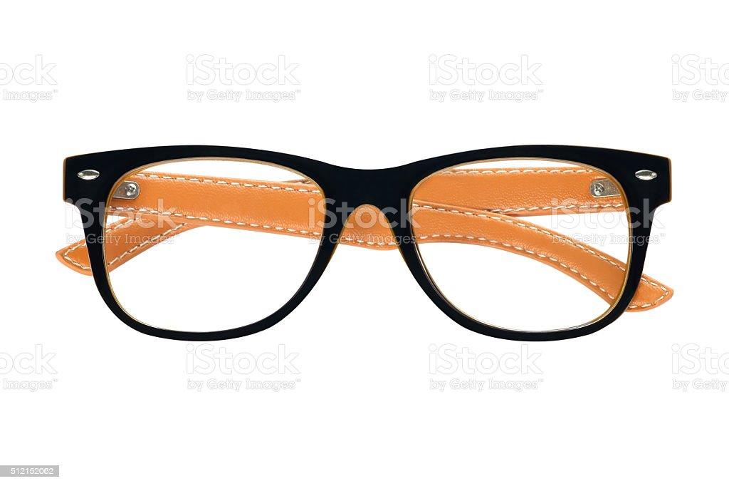 black glasses, isolated on white background stock photo