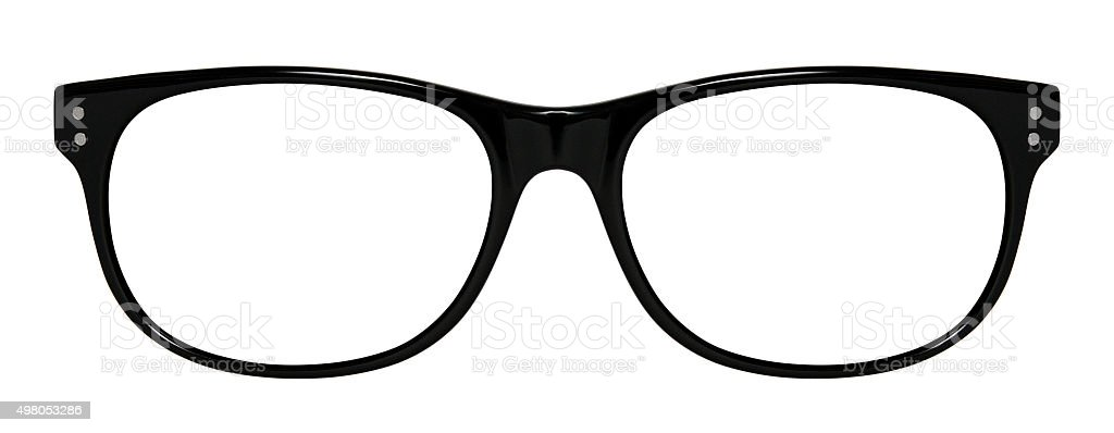 Black glasses isolated on white stock photo