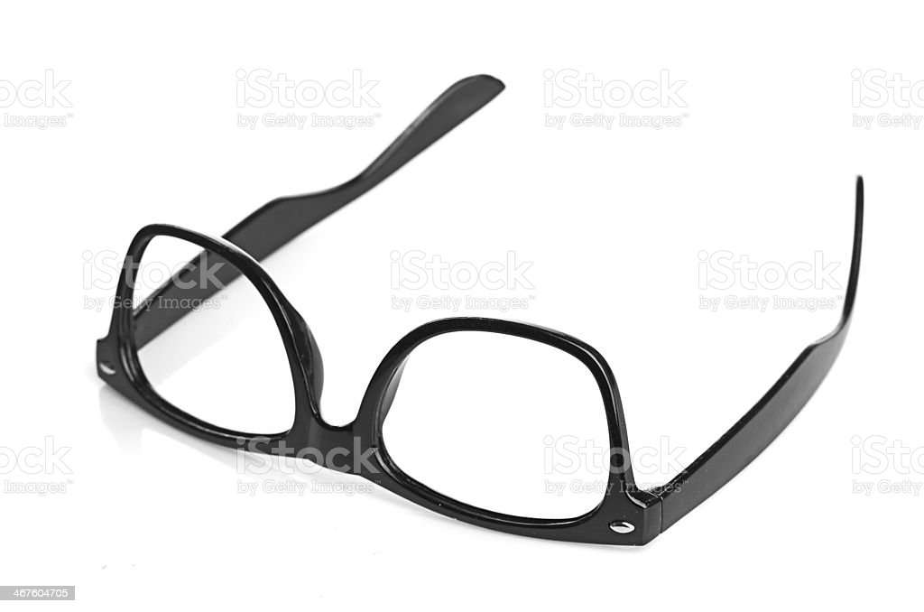 black glasses on a white background royalty-free stock photo