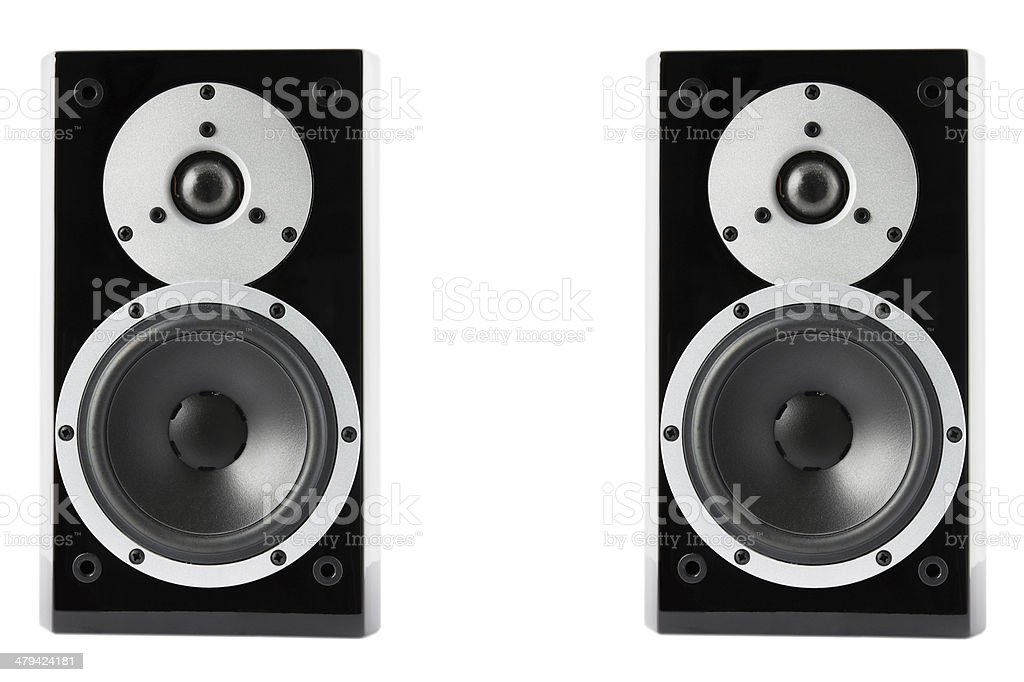 Black glossy music speakers royalty-free stock photo