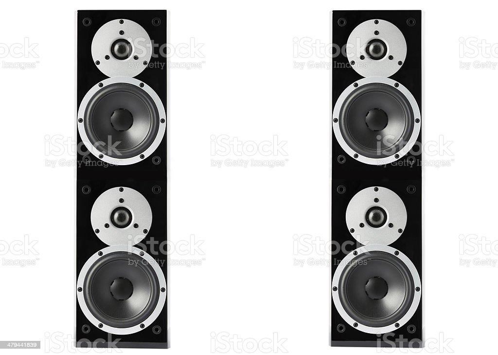 Black glossy music speakers stock photo