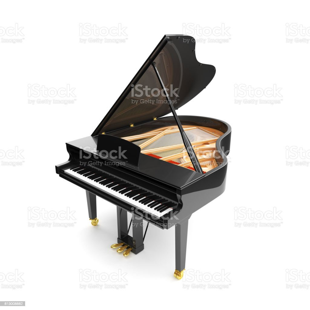 Black glossy musical instrument - acoustic piano. stock photo