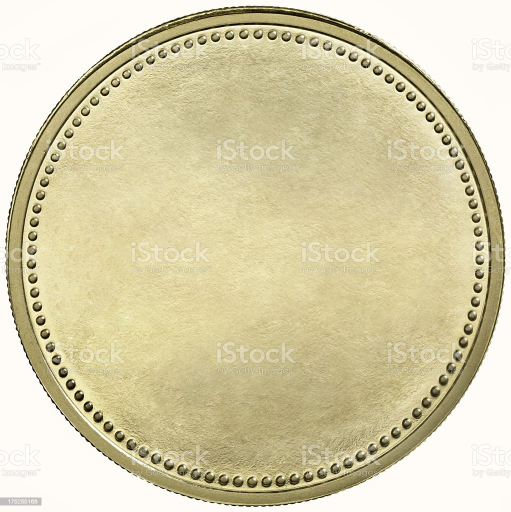 Black gold coin with dotted edge stock photo