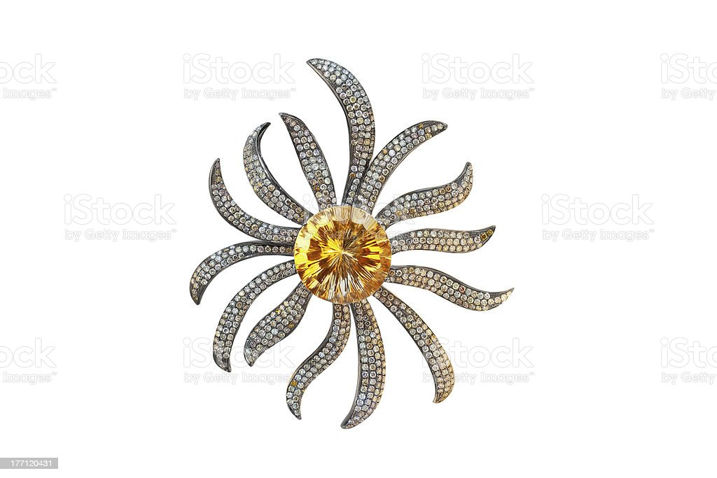 black golden brooch with citrine and diamonds royalty-free stock photo