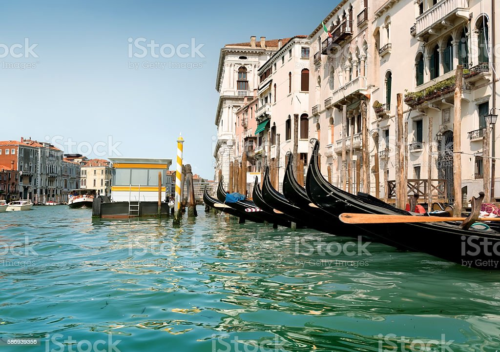 Black gondolas in Venice stock photo