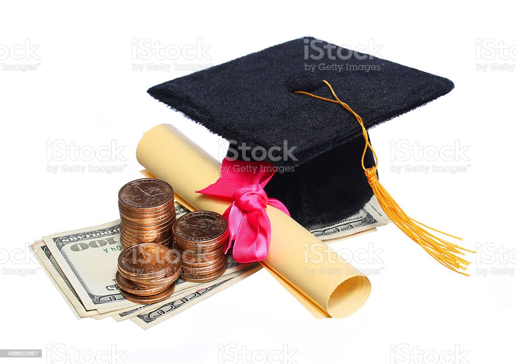 Black Graduation Cap and Degree with Money isolated. stock photo