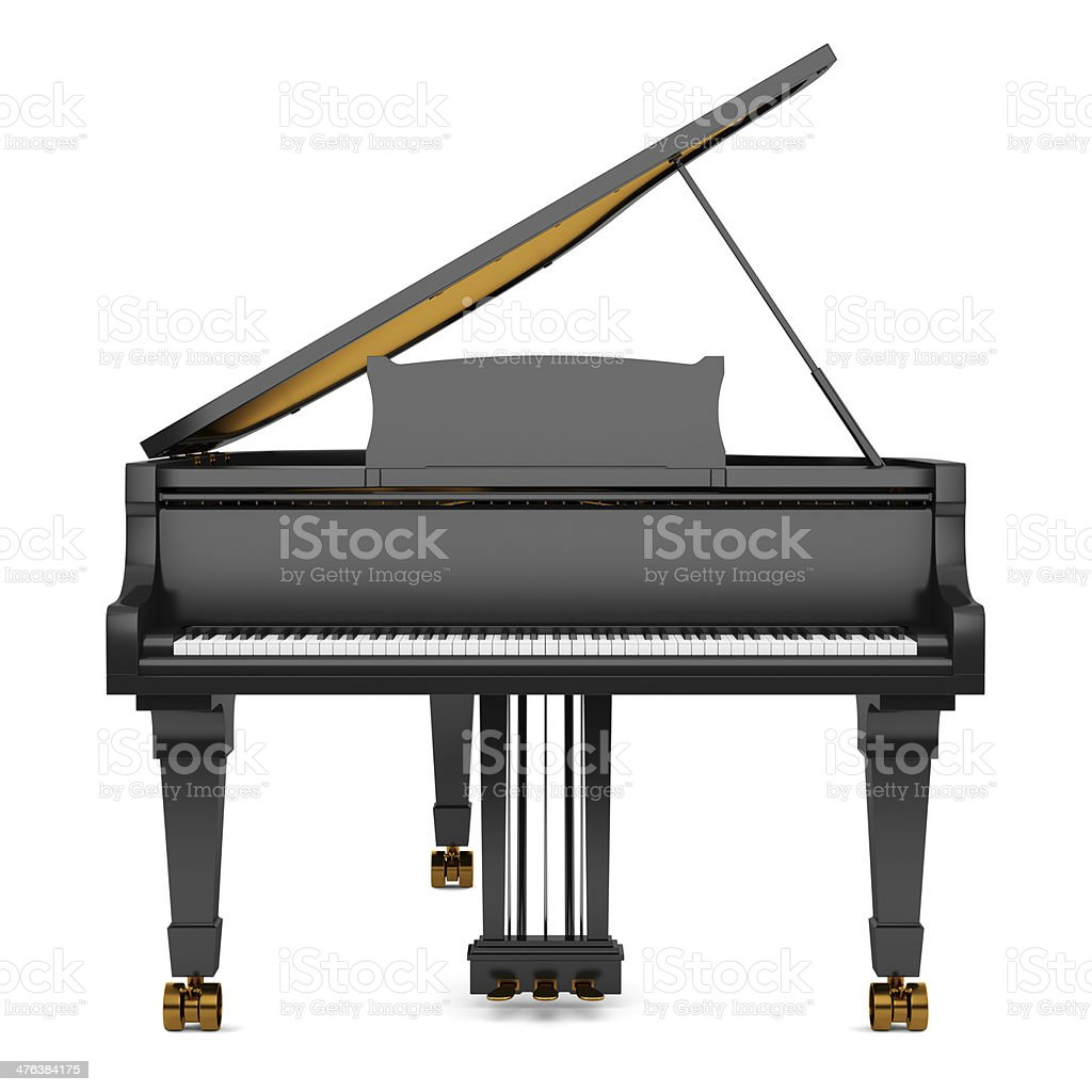 black grand piano isolated on white background royalty-free stock photo