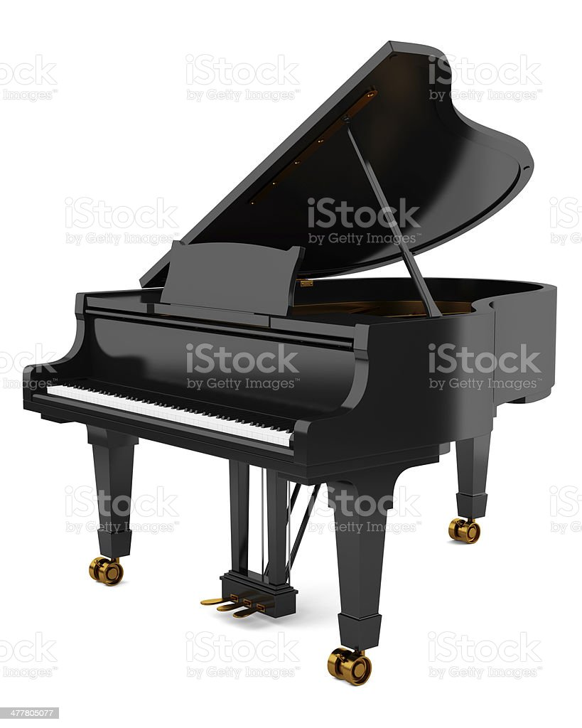 black grand piano isolated on white background stock photo