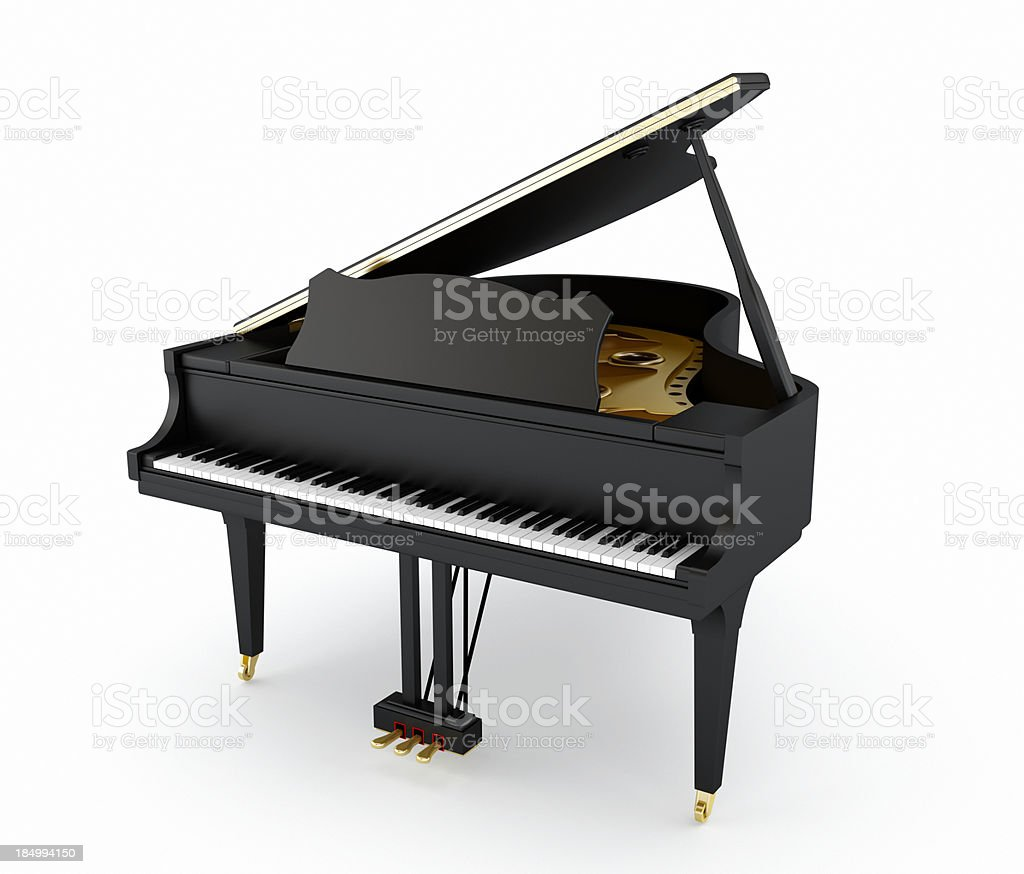 Black grand piano stock photo