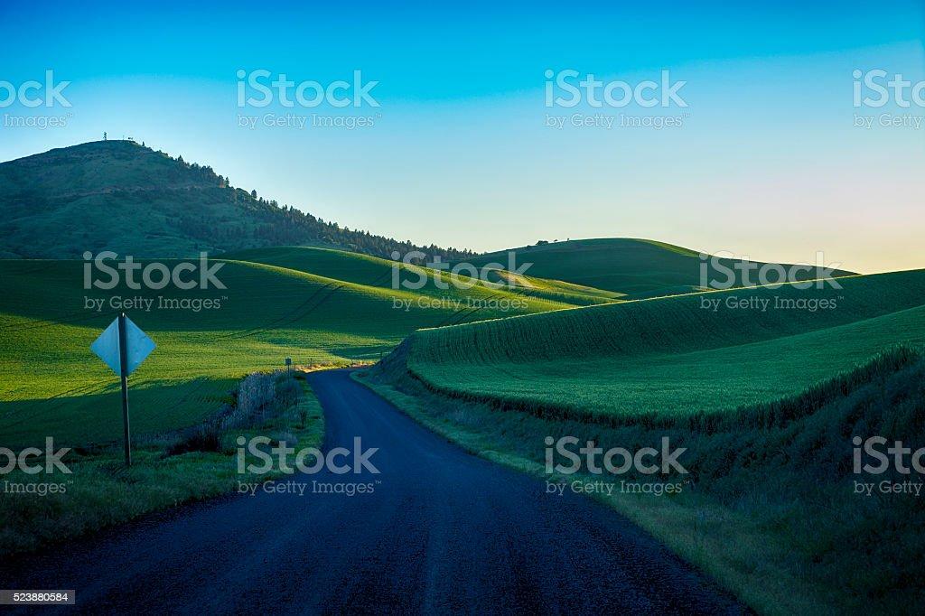 Black gravel road in Eastern Washington state stock photo