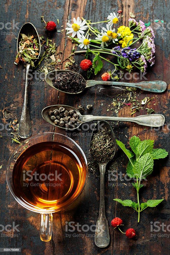 Black, green and herbal tea stock photo