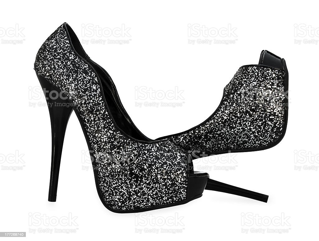 Black grey white high heels open toe pump shoes royalty-free stock photo