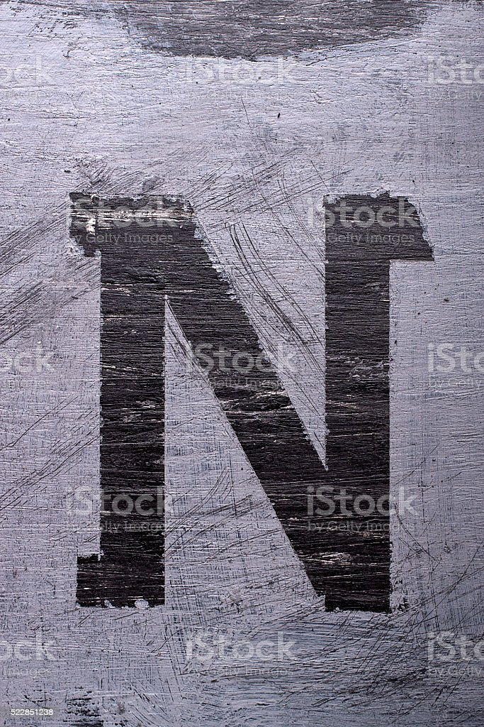 Black grunge alphabet. Letter N stock photo