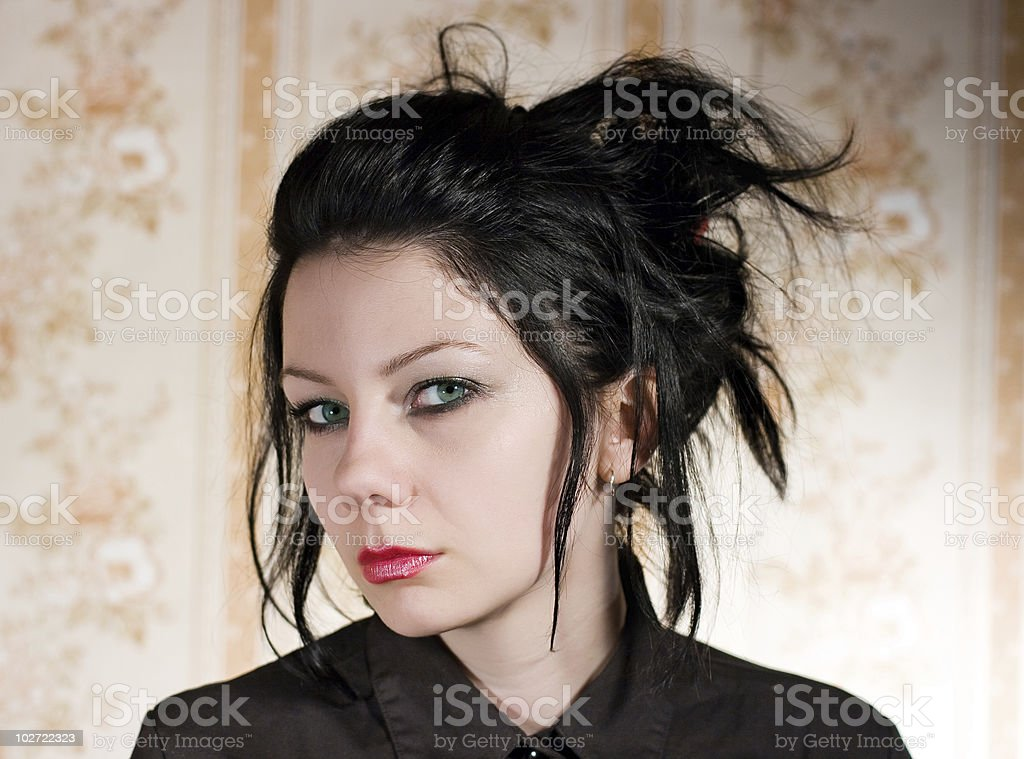 Black hair woman royalty-free stock photo