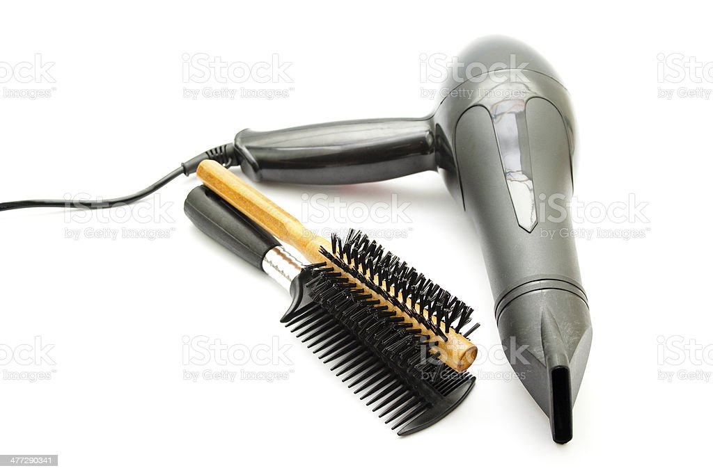 Black Hairdryer with Different Hairbrush royalty-free stock photo