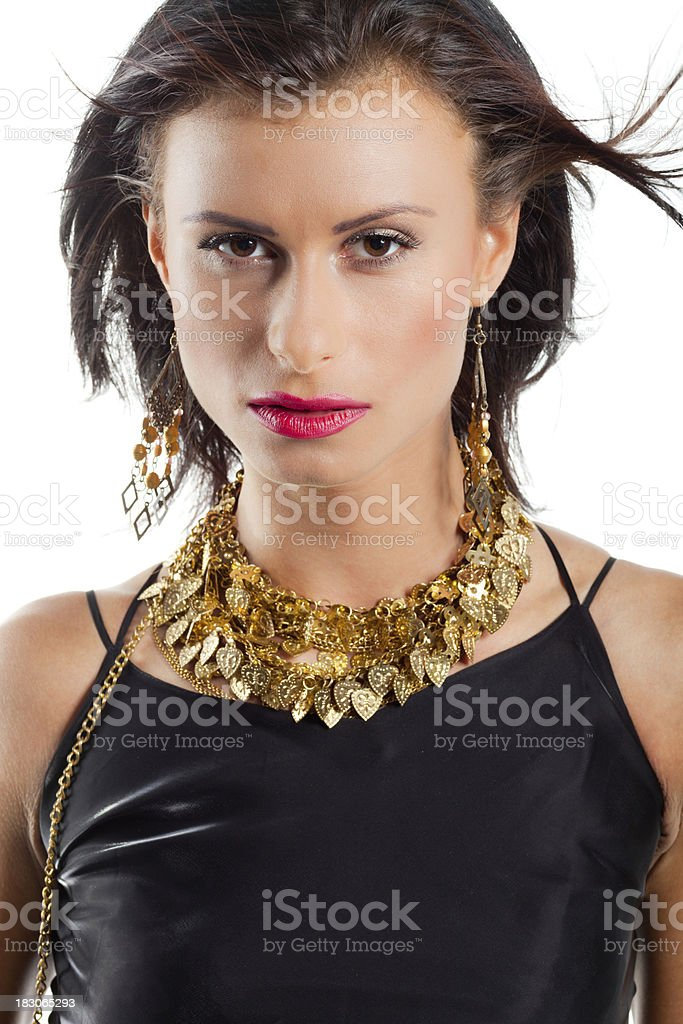 Black Haired Woman With Golden Necklace royalty-free stock photo