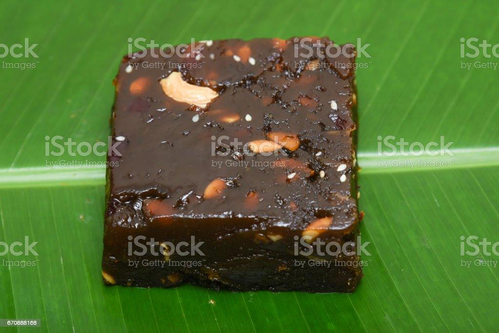 Black Halwa with rice/ Halva/ halawa/ aluva sweet Indian mithai stock photo