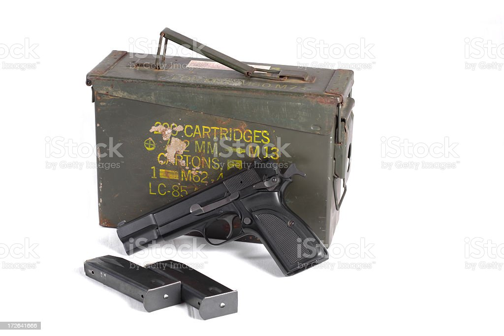 'Black handgun, empty magazines, and ammo can' stock photo