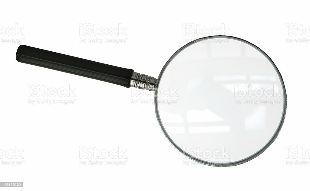 Black handled magnifying glass against white background stock photo