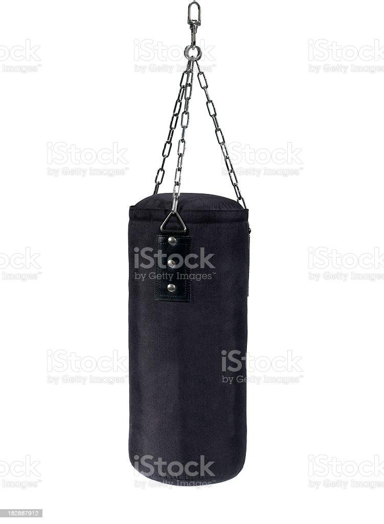 Black hanging punching bag for boxing training stock photo