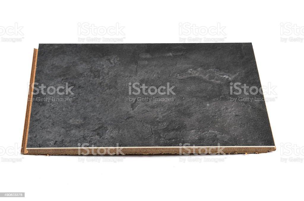 Black Hardwood Tile on white Background Tilt Viewpoint stock photo
