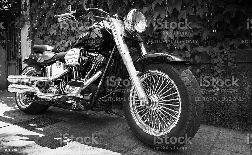 Black Harley Davidson motorcycle with chrome stock photo