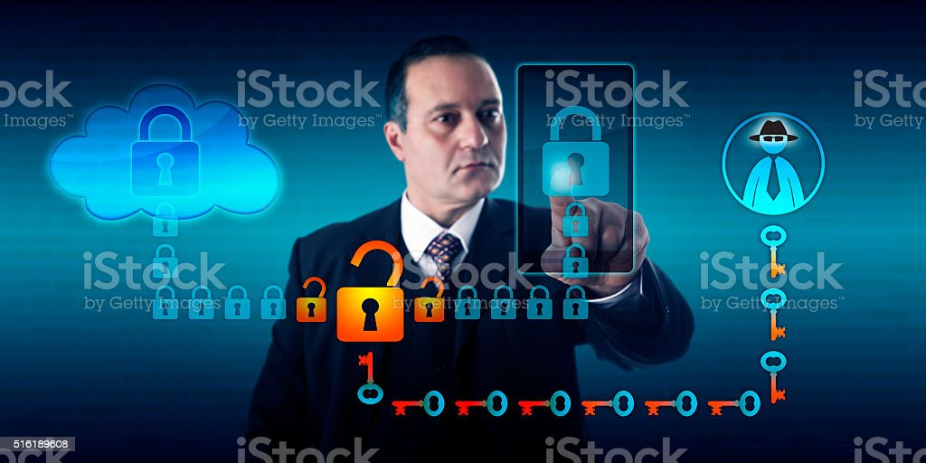 Black Hat Hacker Intercepting Smart Phone stock photo