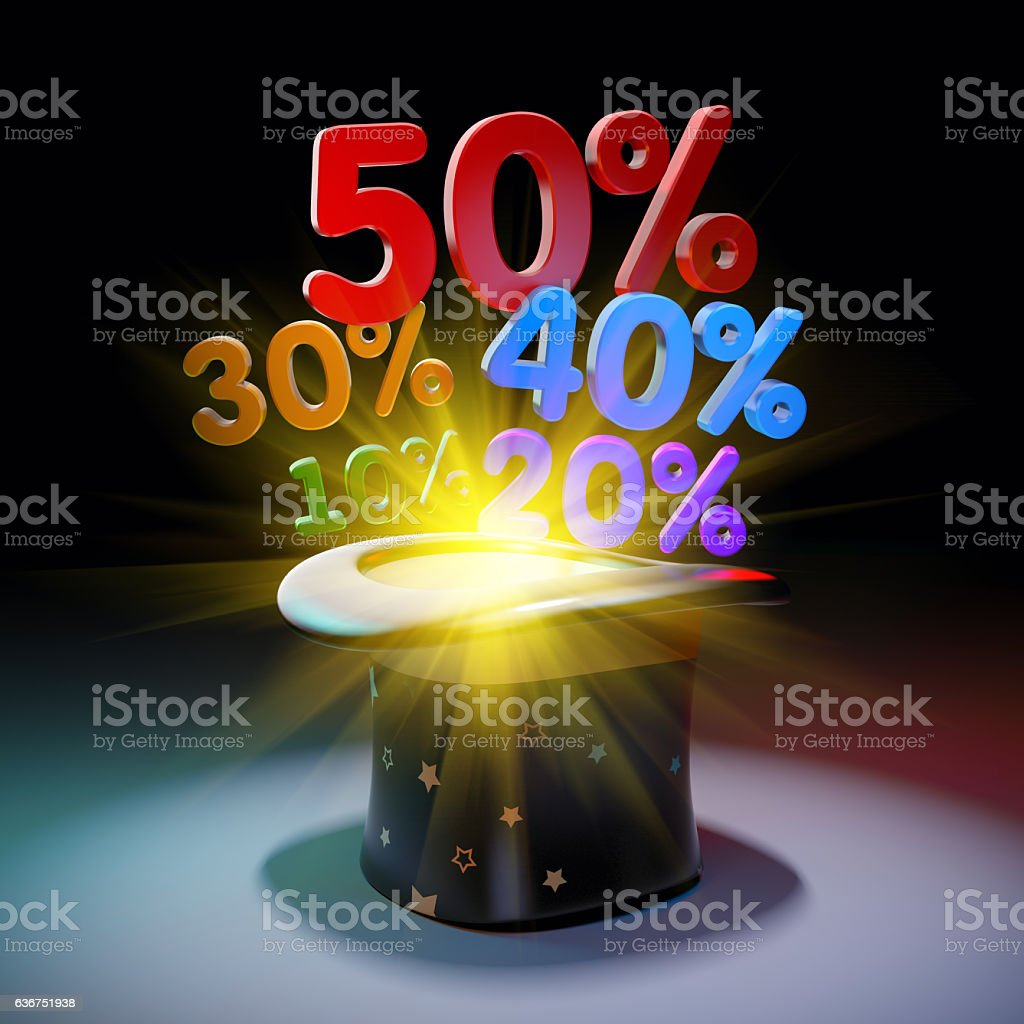 Black hat with huge discounts stock photo
