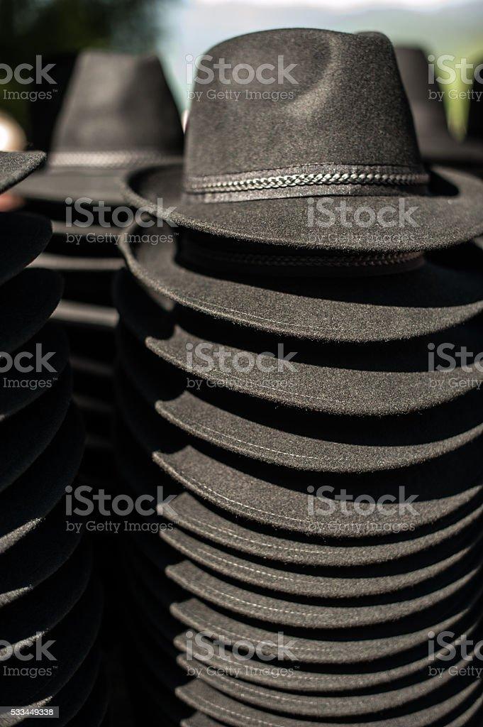 Black hats stock photo
