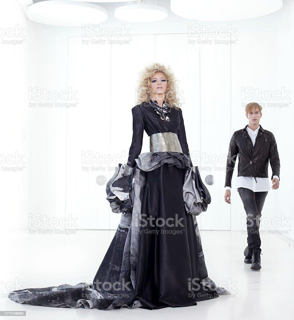 Black haute couture retro futurist couple royalty-free stock photo