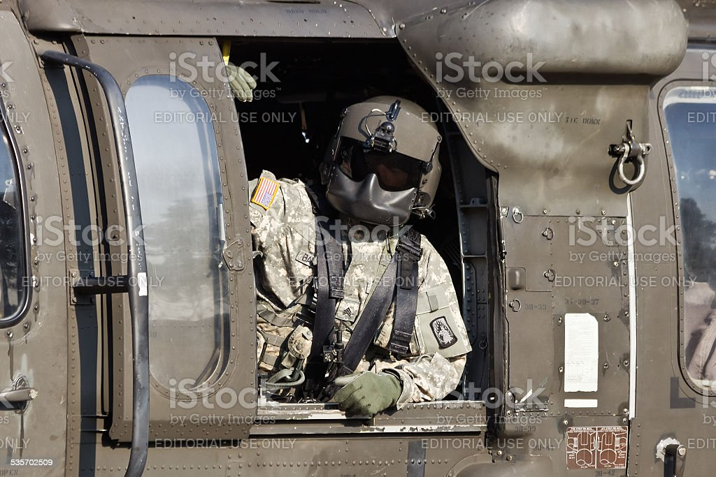 Black Hawk crew chief stock photo