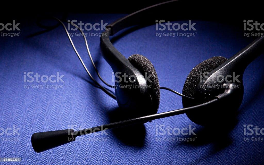 Negro Auriculares con micrófono foto de stock libre de derechos