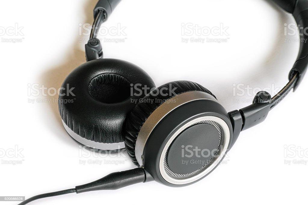 Black headphones on white background royalty-free stock photo