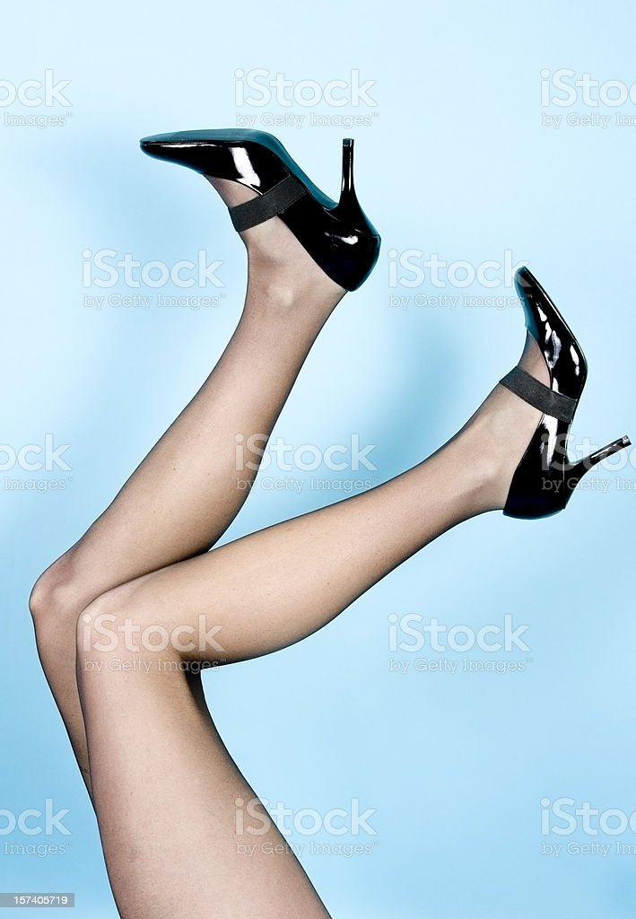 Black Heels, Legs Kicking royalty-free stock photo