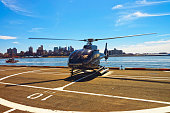 Black Helicopter on helipad in Lower Manhattan New York