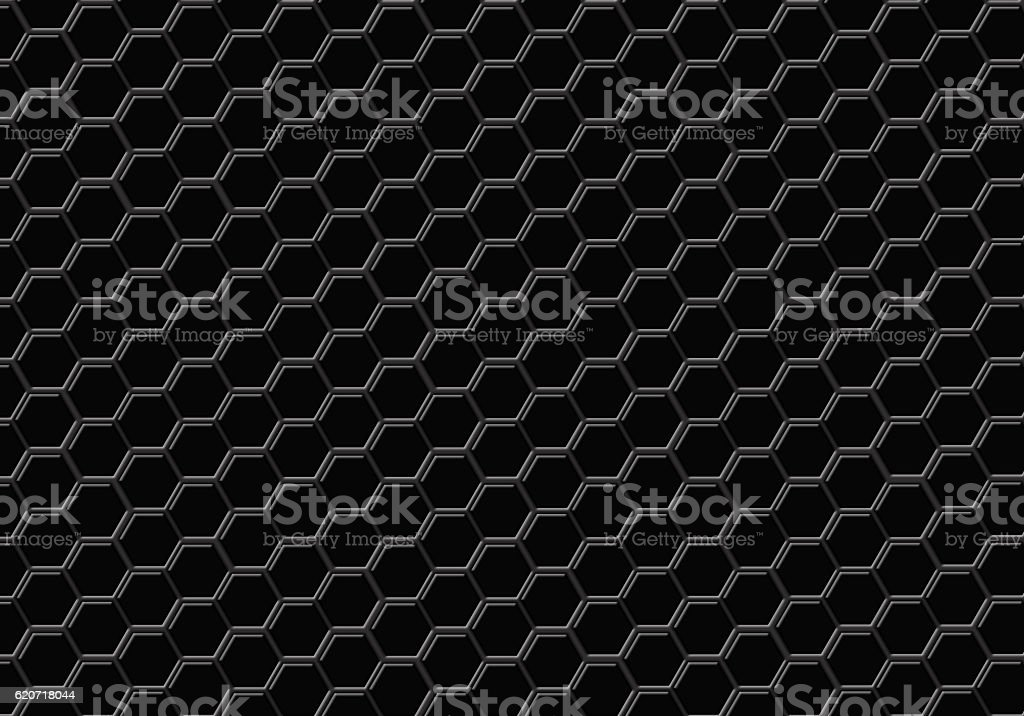 Black hexagon seamless abstract background stock photo