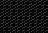 Black hexagon seamless abstract background