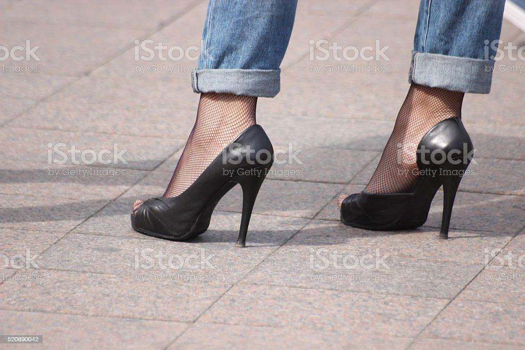 Black High Heels shoes stock photo