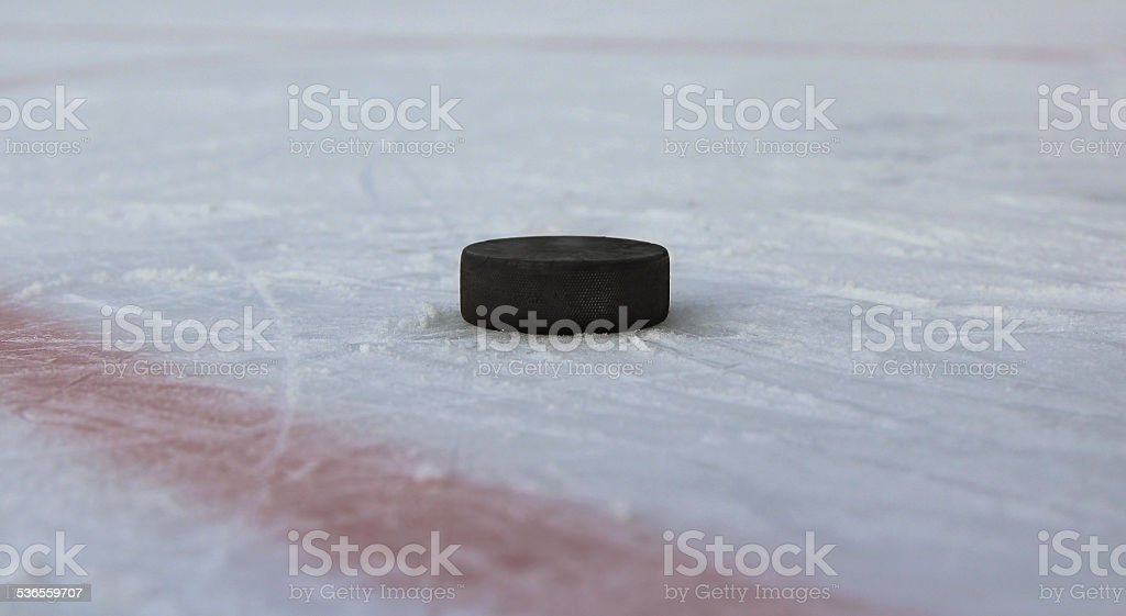 Black hockey puck on a pond stock photo