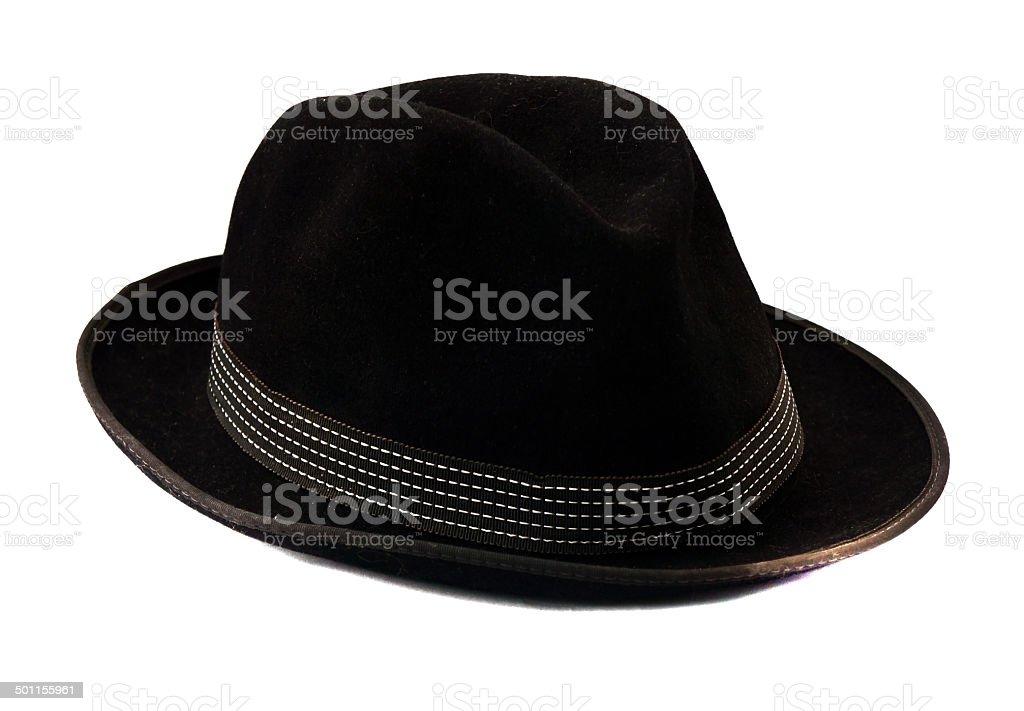 Black homburg  isolated stock photo