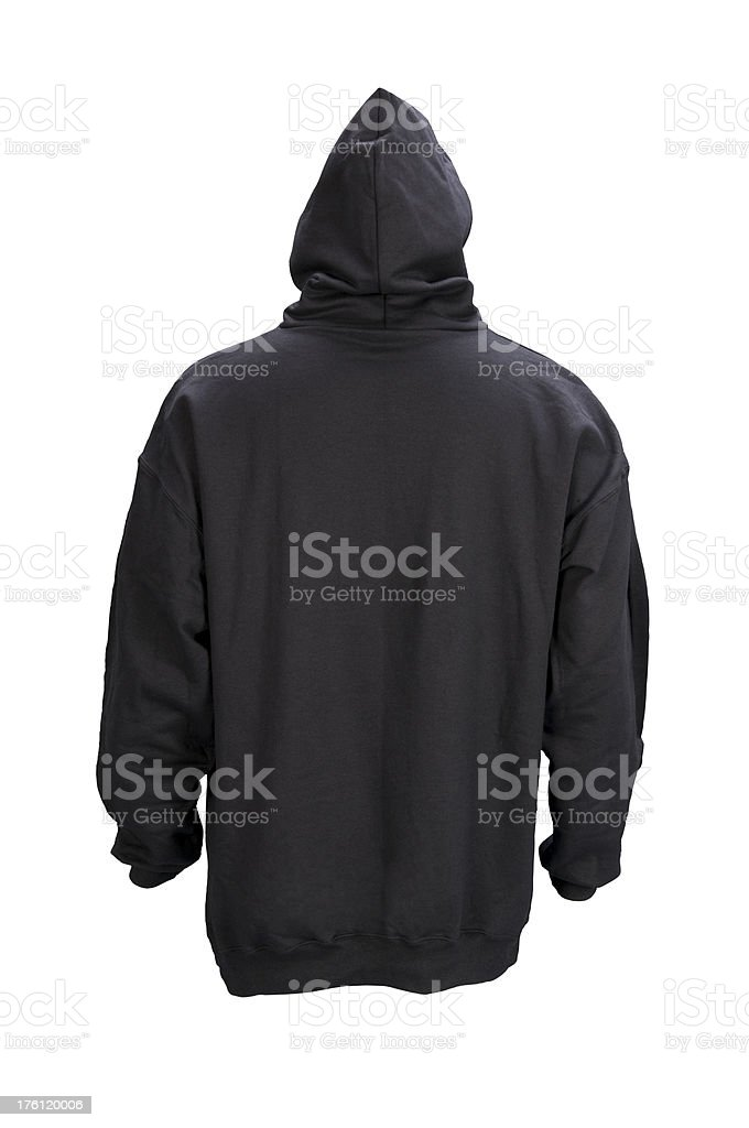 Black hooded blank sweatshirt back-isolated on white w/clipping path royalty-free stock photo