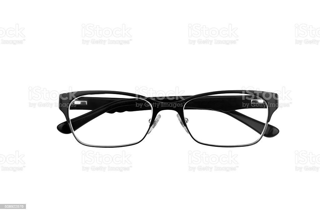 Black horn rimmed glasses stock photo