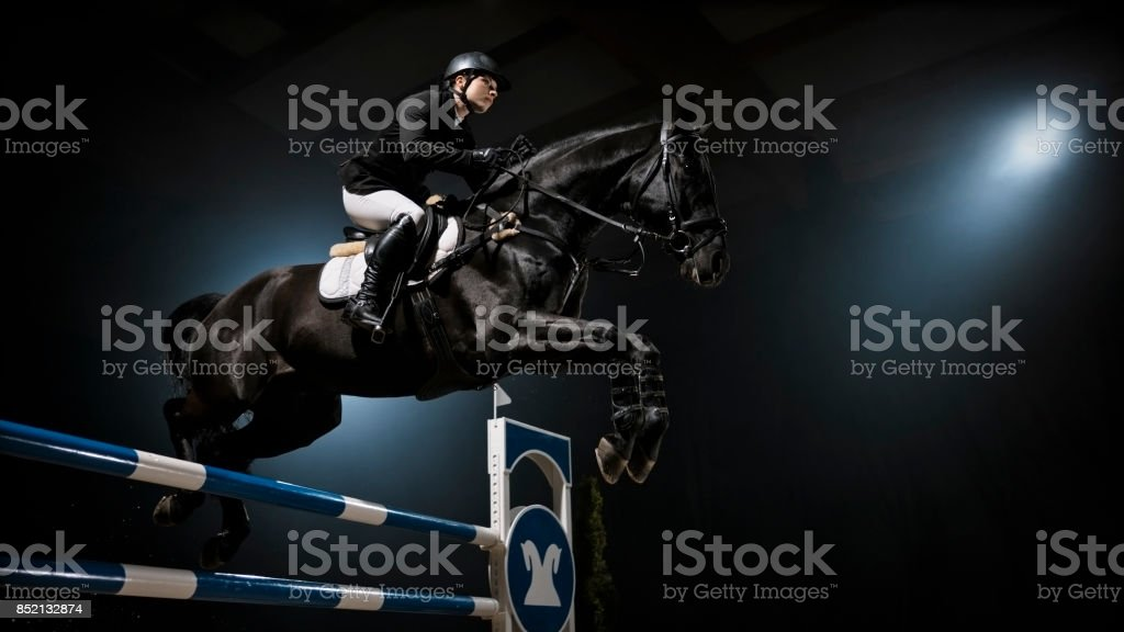 Black horse jumping rail with his rider stock photo
