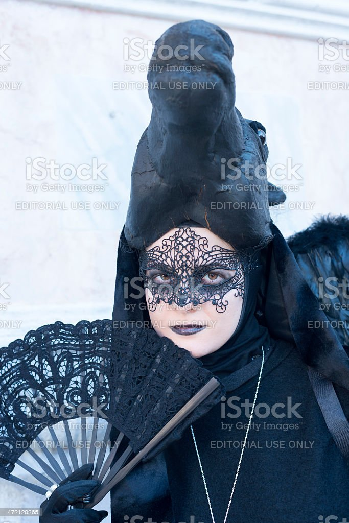 Black Horse Mask in San Zacharias Square, Venice 2013 royalty-free stock photo