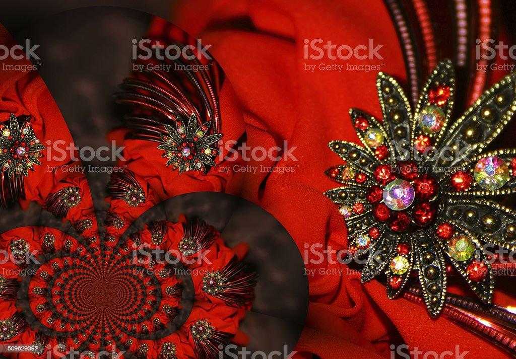 Noir, Joyau rouge vif et de fleurs photo libre de droits