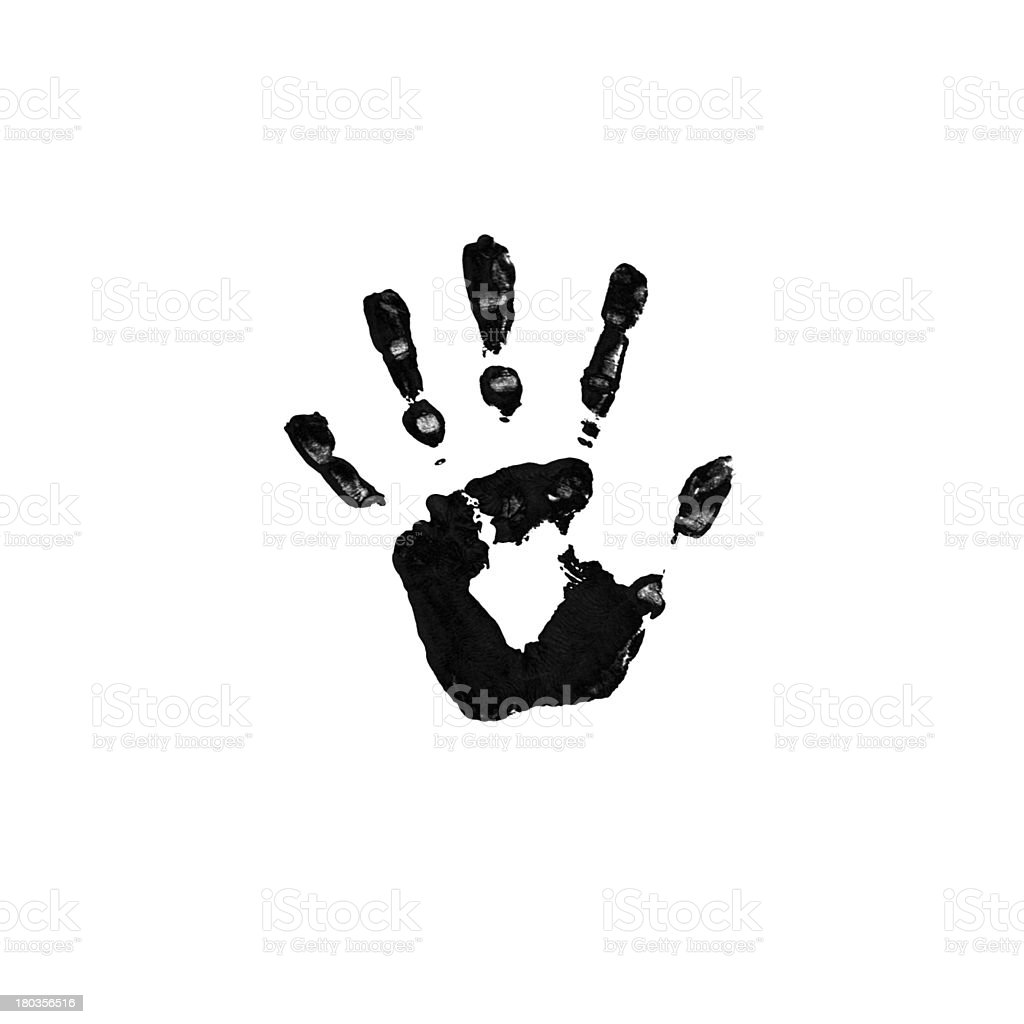 Black imprint of a hand royalty-free stock photo
