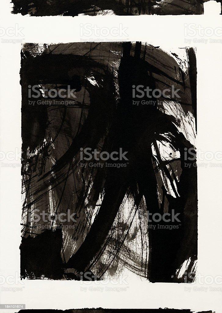 black ink brush stroke frame on white royalty-free stock photo