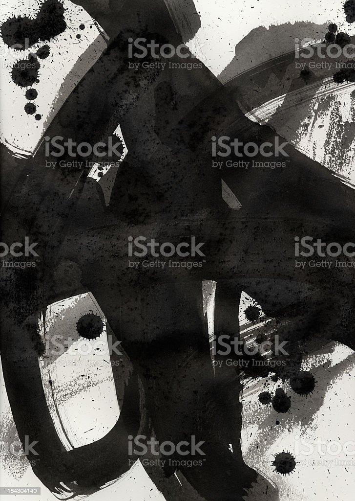 Black ink brush stroke on white paper background stock photo